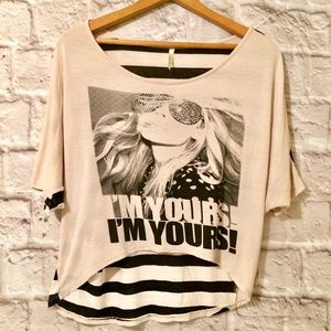 Bella D Slouchy Striped Graphic Tee Shirt Size Sm